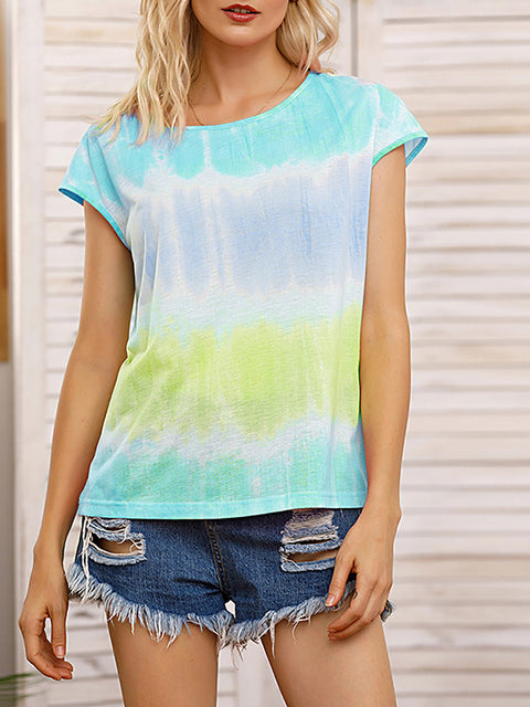 Color=Green | Tie-Dye Gradient Printed Crew Neck Sleeveless Vest T-Shirt Top-Green 1