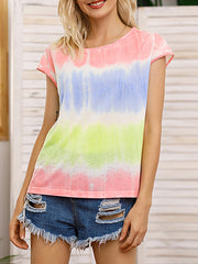 Color=Pink | Tie-Dye Gradient Printed Crew Neck Sleeveless Vest T-Shirt Top-Pink 2
