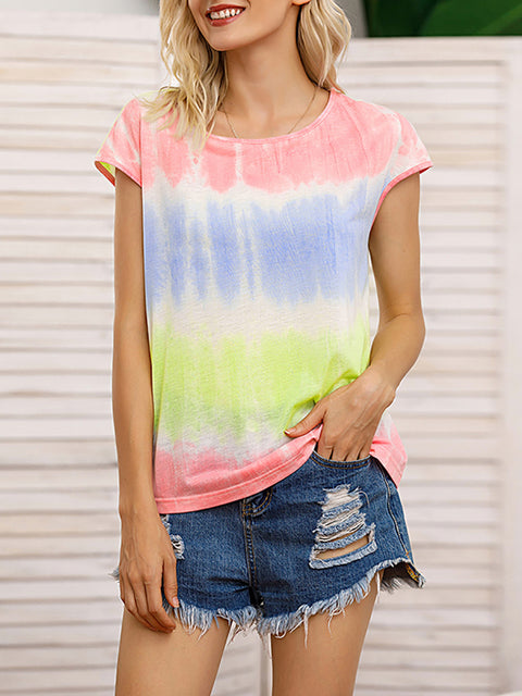 Color=Pink | Tie-Dye Gradient Printed Crew Neck Sleeveless Vest T-Shirt Top-Pink 4