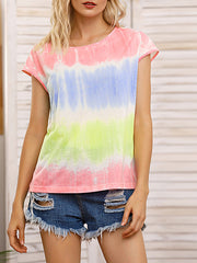 Color=Pink | Tie-Dye Gradient Printed Crew Neck Sleeveless Vest T-Shirt Top-Pink 1
