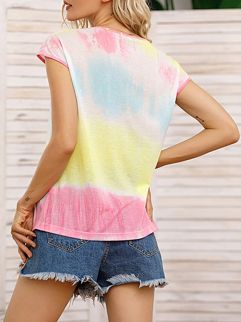 Color=Yellow | Tie-Dye Gradient Printed Crew Neck Sleeveless Vest T-Shirt Top-Yellow 2