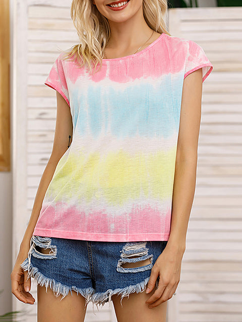 Color=Yellow | Tie-Dye Gradient Printed Crew Neck Sleeveless Vest T-Shirt Top-Yellow 4