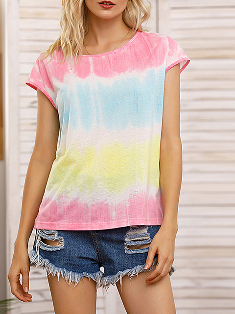Color=Yellow | Tie-Dye Gradient Printed Crew Neck Sleeveless Vest T-Shirt Top-Yellow 1