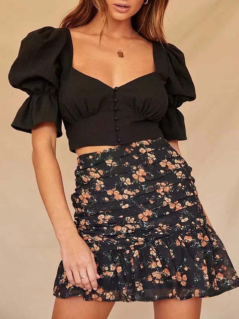 Women's Vintage Square Neckline Crop Top with Bubble Sleeves