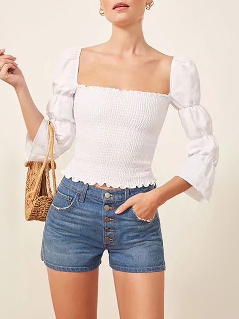 Fashion Elastic Crop Top for Women with Square Neck and Puff Sleeves