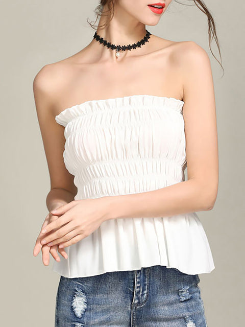 Sexy Off Shoulder Strapless Ruched Summer Tops for Women