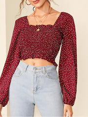 Color=Red | Fashion Polka Dot Crop Top For Women With Long Sleeves-Red 1