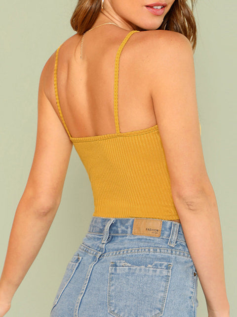 Color=Yellow | Sexy Knitted Camisole Crop Top With Spaghetti Straps-Yellow 2