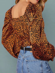 Color=Leopard | Dainty Leopard Printed Square Neckline Crop Top With Long Sleeves-Leopard 2