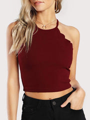 Color=Burgundy | Casual Round Neck Camisole Hollow Crop Top For Women-Burgundy 1