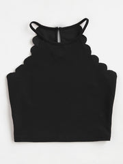 Color=Black | Casual Round Neck Camisole Hollow Crop Top For Women-Black 2