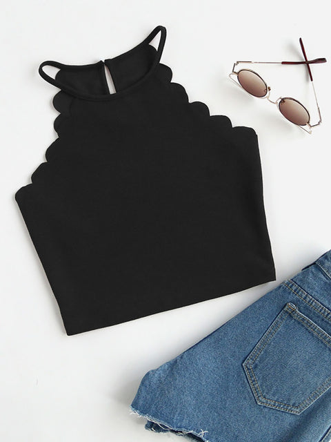 Color=Black | Casual Round Neck Camisole Hollow Crop Top For Women-Black 1