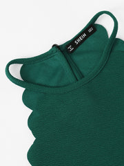 Color=Green | Casual Round Neck Camisole Hollow Crop Top For Women-Green 4