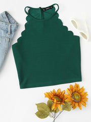 Color=Green | Casual Round Neck Camisole Hollow Crop Top For Women-Green 1