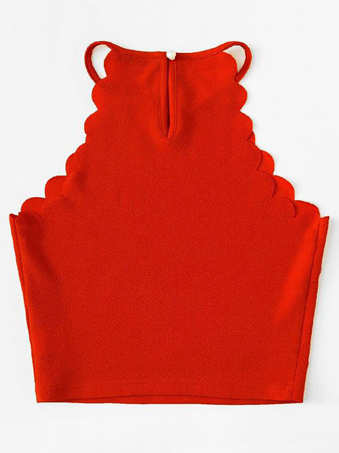 Color=Red | Casual Round Neck Camisole Hollow Crop Top For Women-Red 2