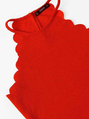 Color=Red | Casual Round Neck Camisole Hollow Crop Top For Women-Red 3