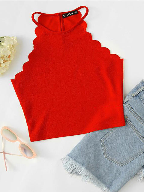 Color=Red | Casual Round Neck Camisole Hollow Crop Top For Women-Red 1