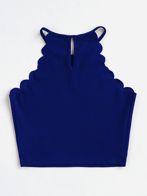 Color=Sapphire Blue | Casual Round Neck Camisole Hollow Crop Top For Women-Sapphire Blue 2