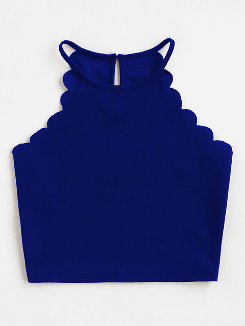 Color=Sapphire Blue | Casual Round Neck Camisole Hollow Crop Top For Women-Sapphire Blue 3