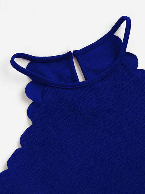 Color=Sapphire Blue | Casual Round Neck Camisole Hollow Crop Top For Women-Sapphire Blue 4