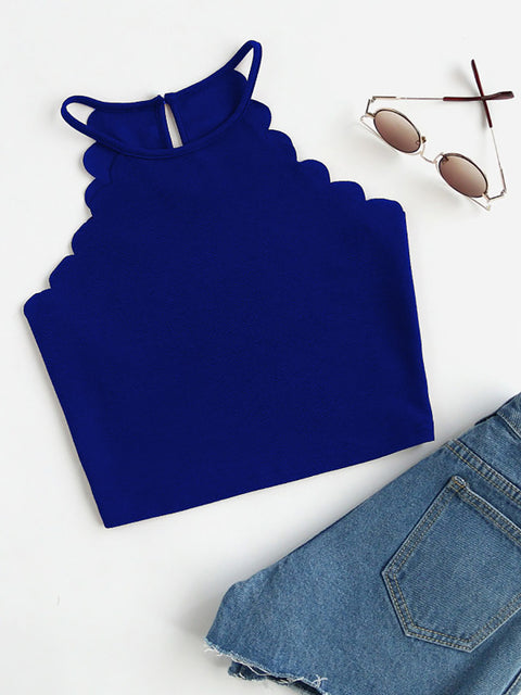 Color=Sapphire Blue | Casual Round Neck Camisole Hollow Crop Top For Women-Sapphire Blue 1
