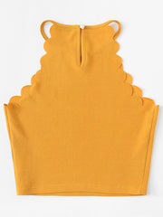 Color=Yellow | Casual Round Neck Camisole Hollow Crop Top For Women-Yellow 3