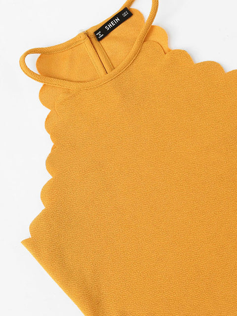 Color=Yellow | Casual Round Neck Camisole Hollow Crop Top For Women-Yellow 4