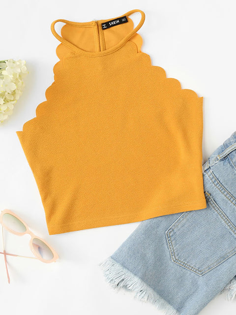 Color=Yellow | Casual Round Neck Camisole Hollow Crop Top For Women-Yellow 1