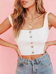 Color=White | Fashion Knitted Square Neckline Crop Top With Buttons-White 3