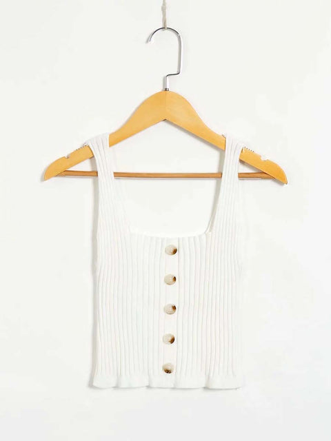 Color=White | Fashion Knitted Square Neckline Crop Top With Buttons-White 4