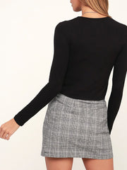 Color=Black | Casual Round Neck Crop Top With Long Sleeves-Black 2