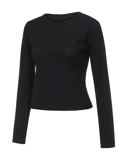 Color=Black | Casual Round Neck Crop Top With Long Sleeves-Black 3
