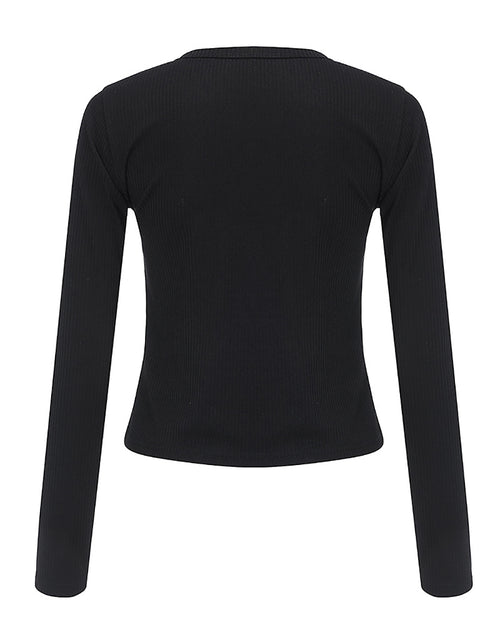 Color=Black | Casual Round Neck Crop Top With Long Sleeves-Black 4