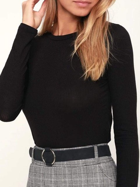 Color=Black | Casual Round Neck Crop Top With Long Sleeves-Black 1