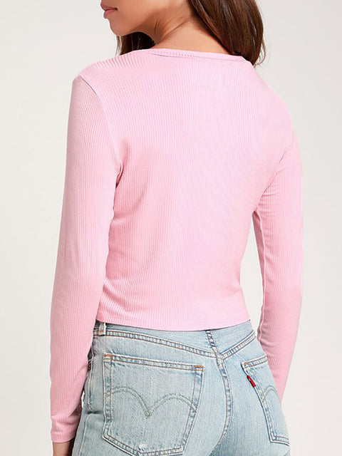 Color=Pink | Casual Round Neck Crop Top With Long Sleeves-Pink 2