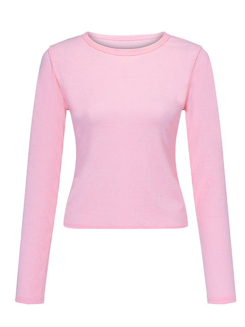Color=Pink | Casual Round Neck Crop Top With Long Sleeves-Pink 3