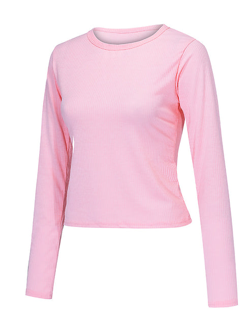 Color=Pink | Casual Round Neck Crop Top With Long Sleeves-Pink 4