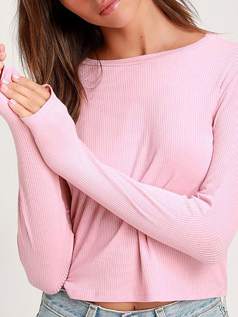 Color=Pink | Casual Round Neck Crop Top With Long Sleeves-Pink 1