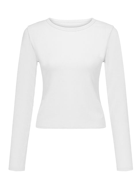 Color=White | Casual Round Neck Crop Top With Long Sleeves-White 2