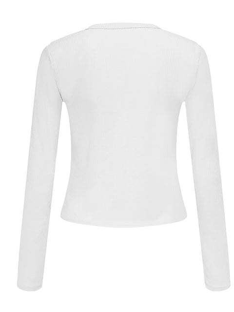 Color=White | Casual Round Neck Crop Top With Long Sleeves-White 3