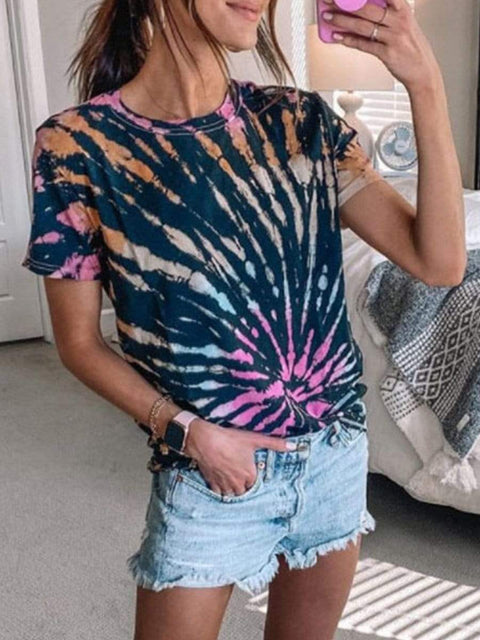 Color=Black | Dainty Tie-Dye Printed T-Shirts For Women With Round Neck-Black 1