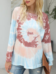 Color=Brown | Fashion Long Sleeves Tie-Dye Shirts With Spiral Pattern-Brown 2