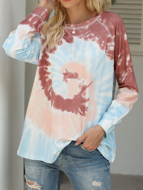 Color=Brown | Fashion Long Sleeves Tie-Dye Shirts With Spiral Pattern-Brown 3