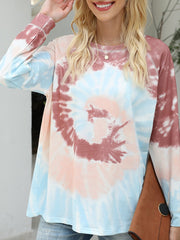 Color=Brown | Fashion Long Sleeves Tie-Dye Shirts With Spiral Pattern-Brown 4