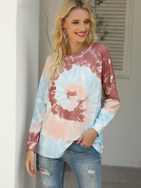 Color=Brown | Fashion Long Sleeves Tie-Dye Shirts With Spiral Pattern-Brown 1