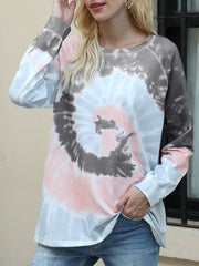 Color=Deep Grey | Fashion Long Sleeves Tie-Dye Shirts With Spiral Pattern-Deep Grey 2