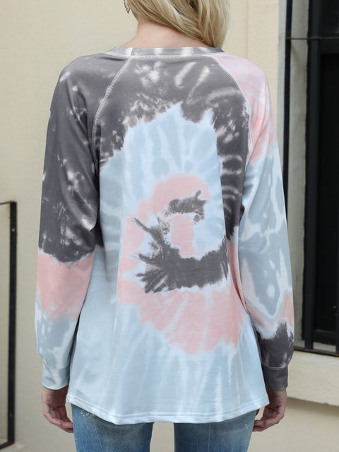 Color=Deep Grey | Fashion Long Sleeves Tie-Dye Shirts With Spiral Pattern-Deep Grey 3