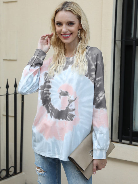 Color=Deep Grey | Fashion Long Sleeves Tie-Dye Shirts With Spiral Pattern-Deep Grey 1