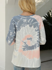 Color=Grey | Fashion Long Sleeves Tie-Dye Shirts With Spiral Pattern-Grey 3
