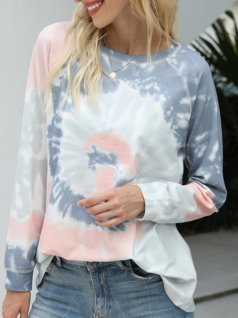 Color=Grey | Fashion Long Sleeves Tie-Dye Shirts With Spiral Pattern-Grey 4